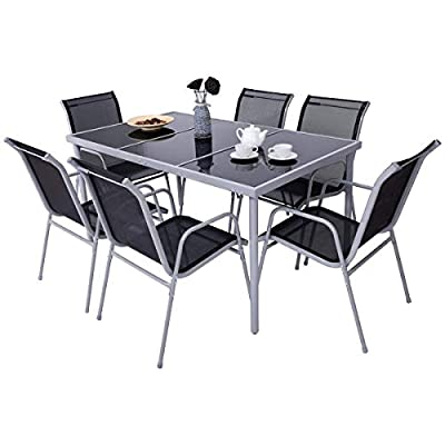 Giantex 7 Pcs Patio Dining Set with Metal Frame for Outdoor Lawn Garden Tempered Glasstop Cool Textilene Fabric Chairs Bistro Patio Dining Table Sets, Black