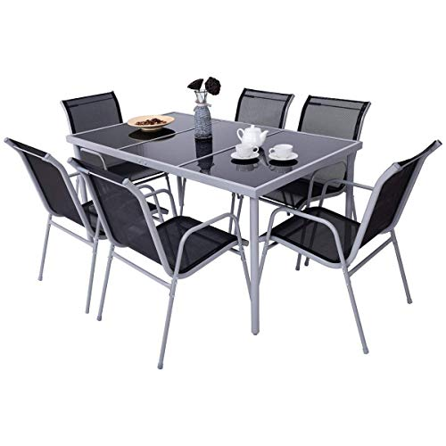 Giantex 7 Pcs Patio Dining Set with Metal Frame for Outdoor Lawn Garden Tempered Glasstop Cool Fabric Chairs Bistro Patio Dining Table Sets, Black