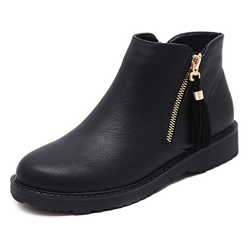 Wollanlily Womens Low Heel Ankle Boots Zipper Leather Black-01 Booties Black-01 US 8