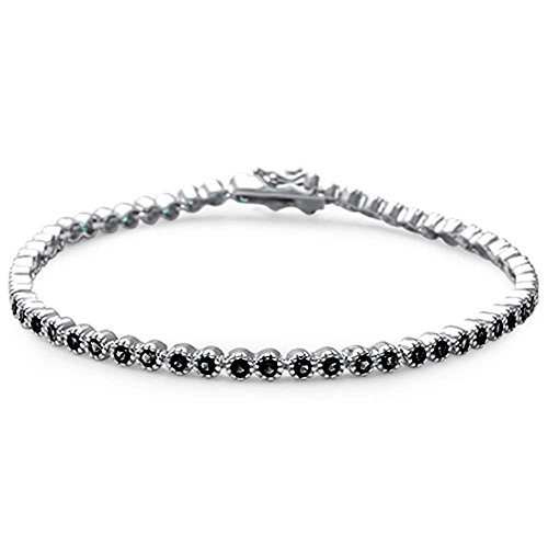 Oxford Diamond Co Elegant 7 Round Simulated Gemstone .925 Sterling Silver Tennis Bracelet Colors Available