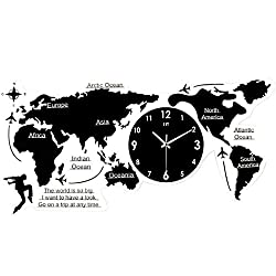 Map Wall Clock, Modern Minimalist European Mute Super Large World Map Acrylic Numbers Letters DIY 3D Sticker Home Living Room Office Decor