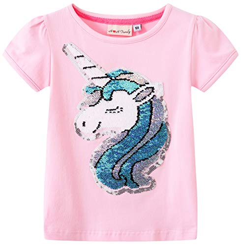 HH Family Flip Sequin Unicorn Shirt Tee for Girls 3-12 Years (4, Aurora Q)