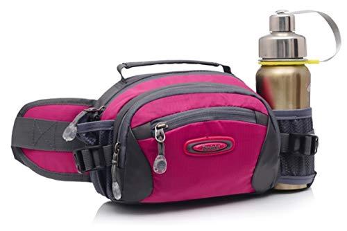 Selighting Lumbar Waist Pack Bag Waterproof Hiking Fanny Pack with Water Bottle Holder Running Hip Pack Bum Bag for Travel Trekking Dog Walking (Rose, One Size)
