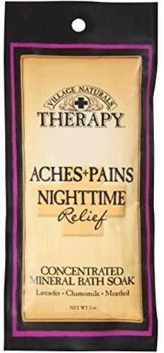 Village Naturals Therapy Aches+Pains Nighttime Relief Concentrated Mineral Bath Soak Lavender,Chamomile,Menthol (2oz) - Chamomile Bath Soak
