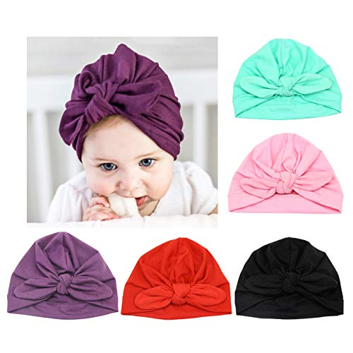 8cc1351c838 DRESHOW BQUBO 5 Pieces Baby Turban Hats Turban Bun Knot Baby Infant Beanie  Baby Girl Soft Cute Toddler Cap