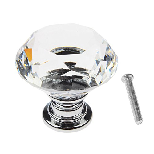 Bluecookies 16pcs Drawer Knobs 30mm Diamond Crystal Glass Clear Cabinet Pulls Handles Home Decor