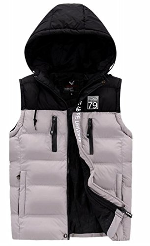 today-UK Mens Hooded Sleeveless Contrast Color Puffer Quilted Down Vest Grey