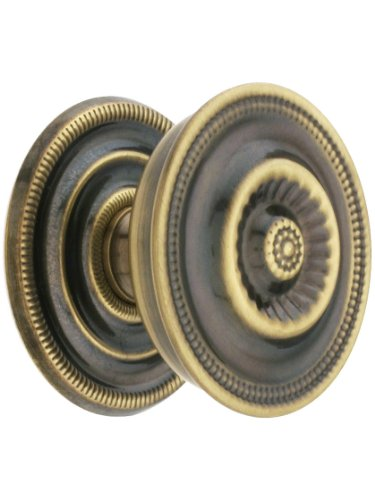 Federal Style Knob - Large Federal Style Knob & Backplate In Antique-By-Hand - 1 5/8
