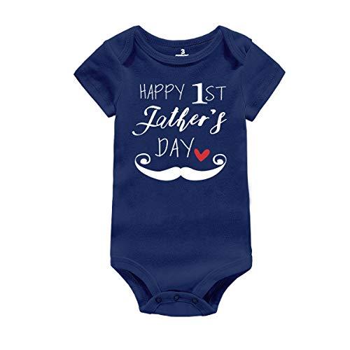 AMMENGBEI Baby Boys Girls Rompers Dad Happy 1st Father's Day Bodysuit (0-3M, Dark Blue)