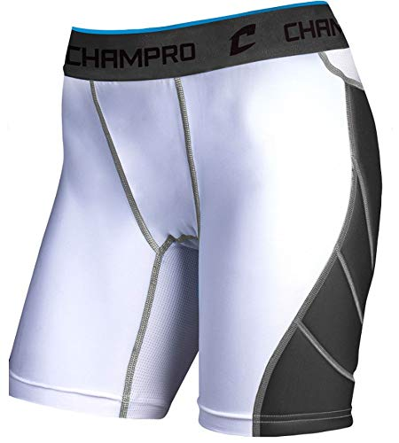 (Champro BPS16 Womens Ladies Girls Fastpitch Slow Pitch Fast Adult Sliding Shorts White)