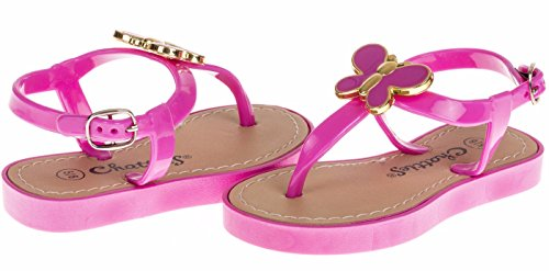 Wooden Slides Sandals (Chatties Toddler T-Strap Sandals With Butterfly Embellishment - Fuchsia, Size 9 / 10 (More Colors and Sizes Available))