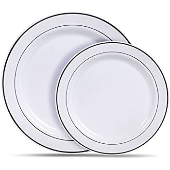 Select Settings [60 COUNT] White with Silver Rim Plastic Disposable Plates 30 Dinner Plates and 30 Salad Plates  sc 1 st  Amazon.com & Amazon.com: \