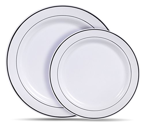 Select Settings [60 COUNT] White with Silver Rim Plastic Disposable Plates 30 Dinner Plates and 30 Salad Plates  sc 1 st  Plate Dish. & Reflections Plastic Plates. Select Settings [60 COUNT] White with ...