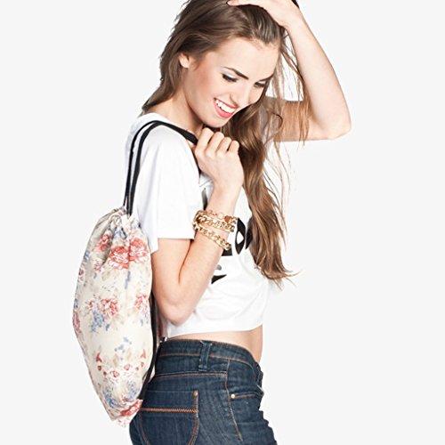 Canvas Turnbeutel Sportbeutel Rucksack Schultaschen 39x30cm Backpack mit Verschiedene Muster Muster B