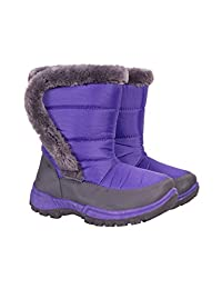 Mountain Warehouse Caribou Kids Fur Trim Snow Boots - Snow Proof with Fleece Lining & High Traction Sole - Great to keep your child's feet cosy & snug on cold winter days