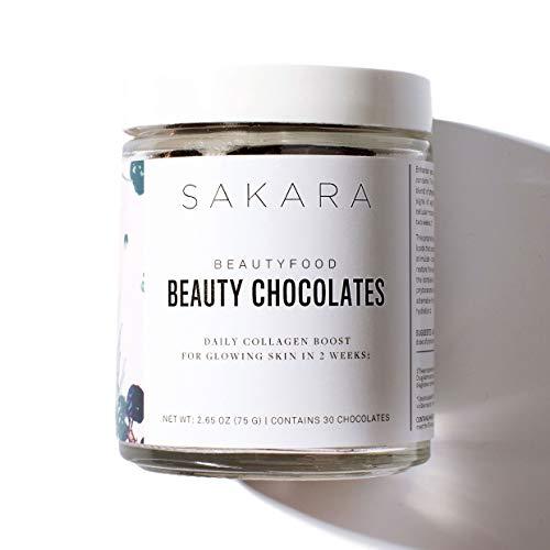 Sakara Beauty Chocolates - Plant Collagen Boost & Skin Rejuvenator, Gluten-Free, 30 Count