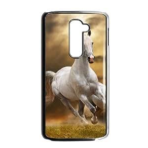 Hat Shark Snap On White Horse Running Galloping Through Grass ,TPU Phone case for LG G2,black
