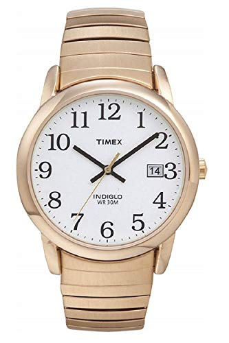 Timex Men's T2H301 Easy Reader Gold-Tone Stainless Steel Expansion Band Watch (Senior Citizen Watch)