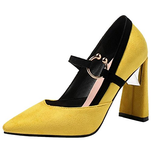Yellow Cross Women TAOFFEN Heels Strap Pumps Fashion qEYBwg