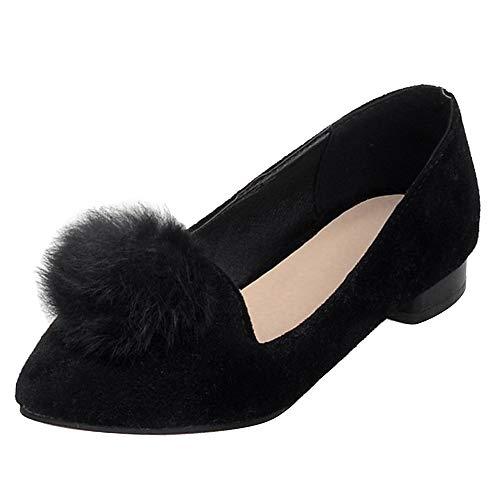 Mujer Ponpones Puntiagudo Bailarinas Negro Zapatos Aicciaizzi w0RxTqnzz