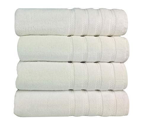 Classic Turkish Towels Premium Hotel and Spa Bath Towel 4 Piece Set - Heavy Duty and Fast Drying Bathroom Towels - 27 x 54 Inch Made with 100% Turkish Cotton (White)