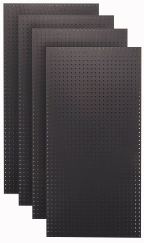 (Tempered Wood Pegboard TPB-4BK 24-Inch W x 48-Inch H x 1/4-Inch D Custom Painted Heavy Duty Round Hole Pegboards, Jet)