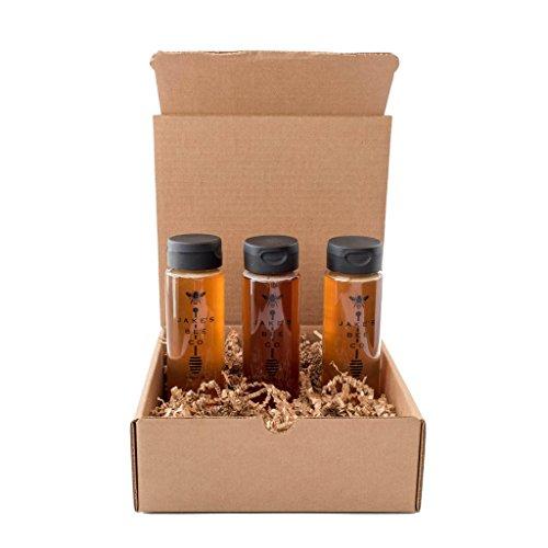 RAW HONEY - 100% Pure unfiltered 12oz squeeze top 3 PACK - Orange blossom - Coastal Sage - Sierra Nevada Wildflower