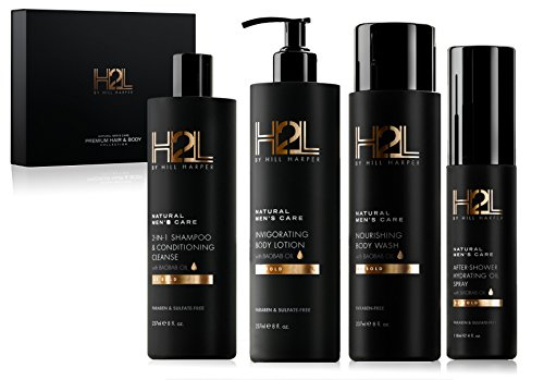 H2L Premium Men's Hair & Skin Care Collection - Gift Set with Nourishing Body Wash, 2-in-1 Restoring Shampoo & Conditioner, After-Shower Hydrating Body Oil and Moisturizing Lotion. By Hill ()
