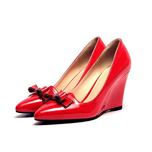 Pumps Red Pointed Closed WeiPoot Solid High Women's Pull Toe On Shoes PU Heels xUUIXv