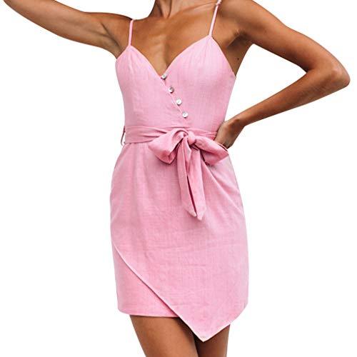 Del Las La Largos Sólido Irregular Vestido Fiesta Mangas Rosado Verano Mujer Señoras Mini Botón Rosa 2019 Vestidos Hebilla Slyar Sin De Honda Cadera 8IFTqwxqP
