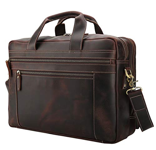 Texbo 17 Inch Genuine Leather Laptop Briefcase Messenger Bag Tote Fit Business Trips