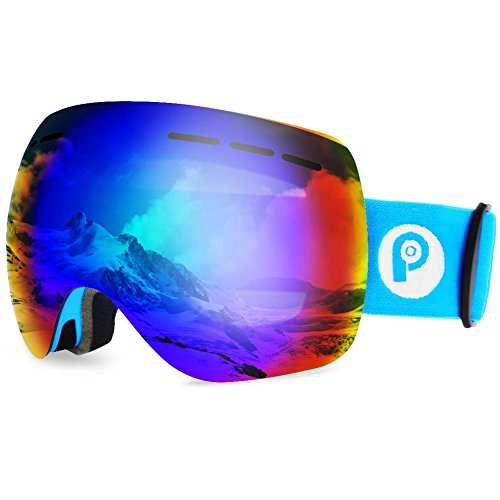 picador Ski Goggles PRO Over The Glasses with Detachable Dual Layer Anti-Fog Lens for Women and Men (Matte Blue)
