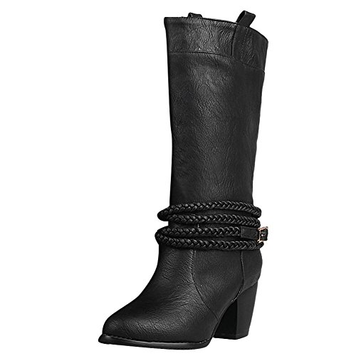 Carolbar Women's Vintage High Heel Buckle Mid Calf Boots Black