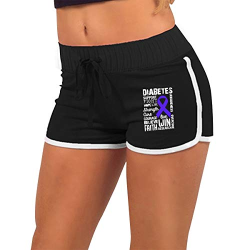Q22-PI Women's Diabetes Awareness Workout Running Active Shorts Pants with Athletic Elastic Waist Black ()