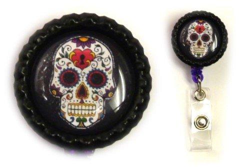 Sugar Skull Decorative Badge Holder (Heart on Black)