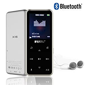 Handy & Portable 8GB HiFi Sound Bluetooth MP3 MP4 Player 45 Hours Playback Alloy Metal Body with Voice Recorder/FM Radio/Video/Stopwatch Support Up To 64GB TF Card (Sliver & Black)