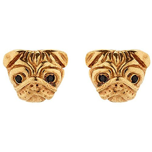 Gold Pug Dog Charm (18k Gold & 925 Silver Plated Pug Dog Charm Women Stud Earring,2 color (Gold))