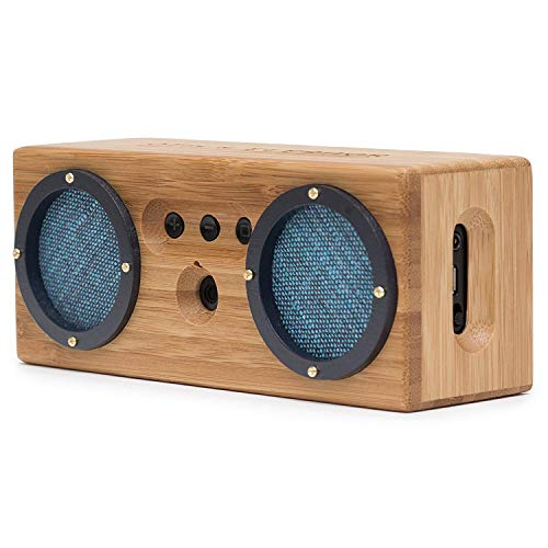 Bongo Wood Bluetooth Speakers, Retro Handcrafted Bamboo Portable Wireless Speaker for Travel, Home, Shower, Beach, Kitchen, Outdoors, Loud Bass with Dual Passive Woofers | Vintage Blue