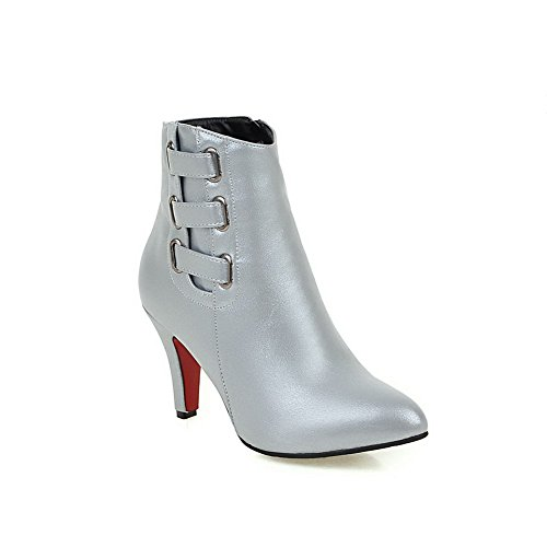 Top Boots Blend Materials Women's Low Closed Toe Zipper Solid Silver zippers Allhqfashion 4FBEfxqx