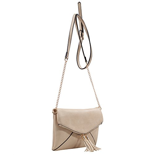 DELUXITY Crossbody Tassel Bag with Adjustable Chain Strap (Sand)