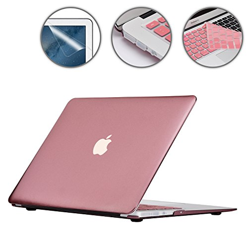 Applefuns(TM) 4IN1 Kit Matte Hard Shell Case + Keyboard Cover + Screen Protector + Dust Plug for Macbook Air 13
