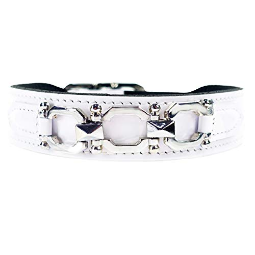Hartman & Rose Leather Dog Collar with Silver Plated Links - Georgia Collection Fancy Dog Collar White Patent, 12 to 14 Inch