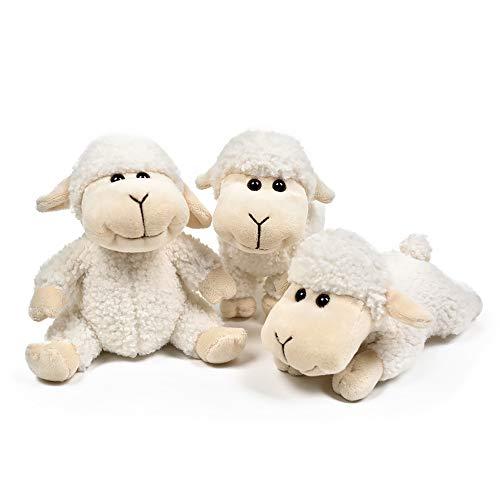 Little Lamb Plush - FRANKIE ZHOU Stuffed Animal Sheep Lovely Lamb Plush Soft Toys 3Pcs(Sitting, Standing, Kneeling) Best Gift for All White