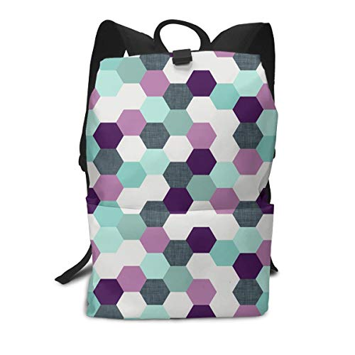 Liumong Hexagonal Honeycomb Unique Book Bag Holder Travel Back Backpack School Travel Hiking Small Mini Gym Teen Little Girls Youth Kid Women Men Printed Patterned Themed ()