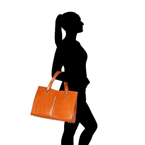 véritable à femme Chicca Sac en Fabriqué Italie en Borse 38x27x12 main bronzer Cm cuir d1wSXSHxUq