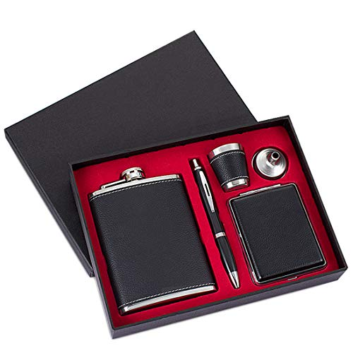 (GENNISSY 8OZ Hip Flask Set - PU Leather and Stainless Steel With Funnel and 1 Cup 1 Pen 1 Cigarette Case )