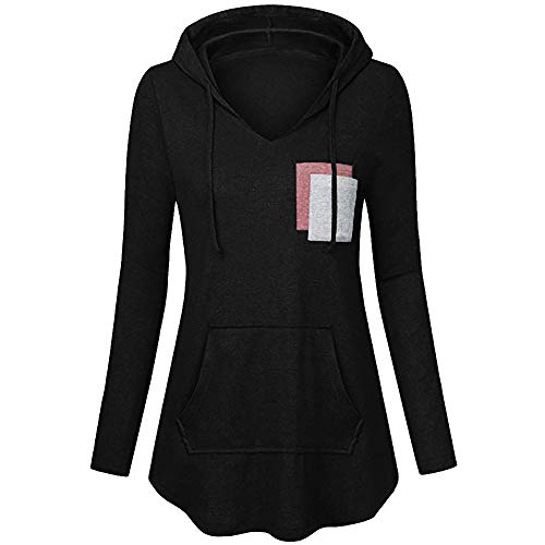 Lookatool LLC Women's Lightweight Pullover Hoodies Casual Long Sleeve Tunic Tops BK/M -