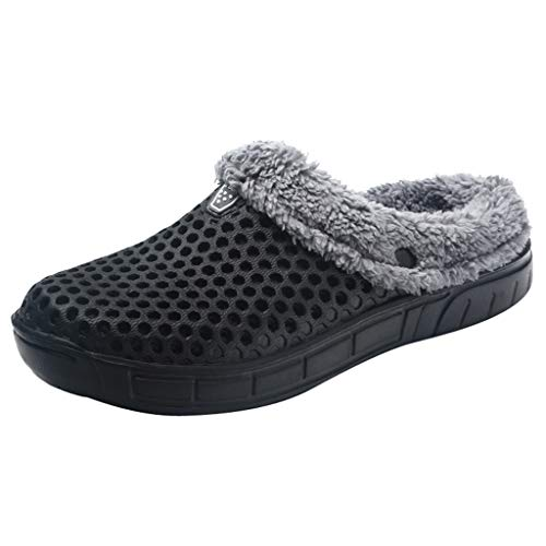 NUWFOR Couple Men Winter Home Slippers Keep Warm Non-Slip Indoors Bedroom Floor Shoes?Black,10-10.5 M US? ()