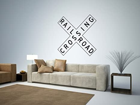 Famous Amazon.com: Street & Traffic Sign Wall Decals - Rail Road Crossing  GS27