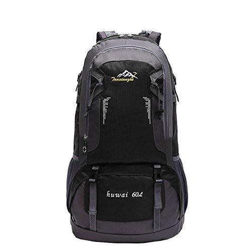 LINGE-Impermeables mochilas deporte recreativo al aire libre para los hombres y las mujeres hombro bolsas viaje a pie portátil mochila 60L , red Black